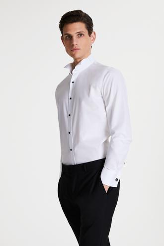 Tween Slim Fit Beyaz Desenli Smokin Gömlek - 8682364569151 | Damat Tween