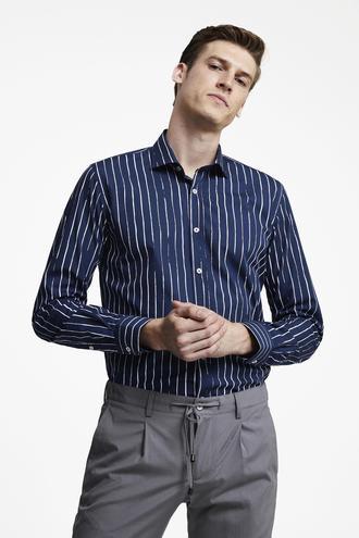 Tween Slim Fit Lacivert Baskılı Gömlek - 8682364864560 | Damat Tween