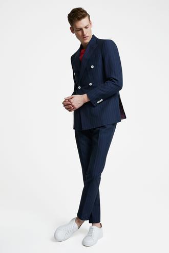 Tween Slim Fit Lacivert Çizgili Takım Elbise - 8681649875147 | Damat Tween