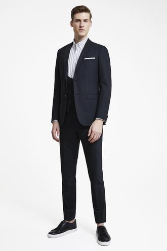 Tween Slim Fit Siyah Armürlü Yelekli Takım Elbise - 8681649875895 | D'S Damat