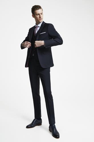 Tween Slim Fit Lacivert Düz Yelekli Takım Elbise - 8681649876342 | Damat Tween