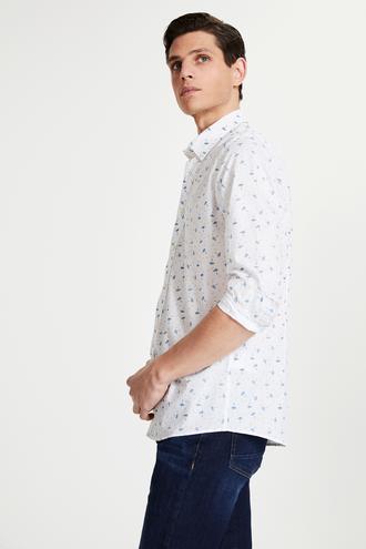 Tween Slim Fit Beyaz Desenli Gömlek - 8682364494620   Damat Tween