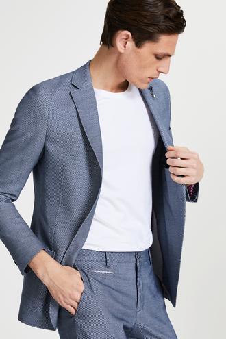 Tween Slim Fit Lacivert Kumaş Ceket - 8681649877387   Damat Tween