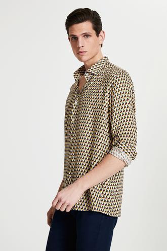 Tween Slim Fit Sarı Baskılı Viskon Gömlek - 8682364499700 | Damat Tween