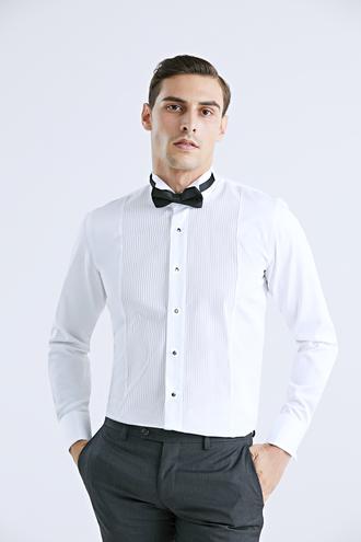 Damat Slim Fit Beyaz Jakar Desenli Smokin Gömlek - 8695460253237 | Damat Tween