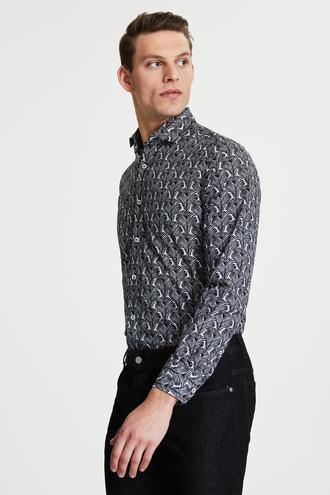 Damat Slim Fit Siyah Baskılı Gömlek - 8682364482627 | Damat Tween