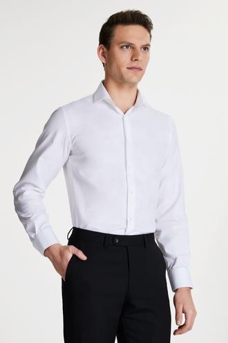 Damat Slim Fit Beyaz Düz Travel Gömlek - 8681649976547 | Damat Tween