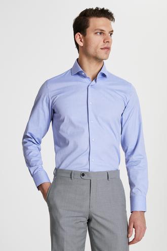 Damat Slim Fit Mavi Düz Travel Gömlek - 8681649976608 | Damat Tween