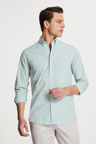 Damat Slim Fit Yeşil Düz Yaka İğneli Gömlek - 8682364482795 | Damat Tween