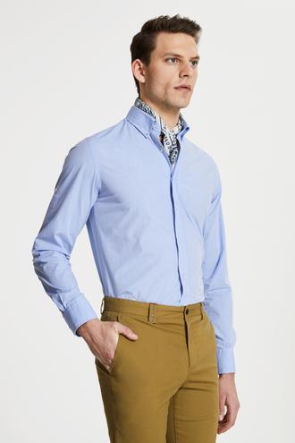 Damat Slim Fit Mavi Düz Yaka İğneli Gömlek - 8681649982234 | Damat Tween