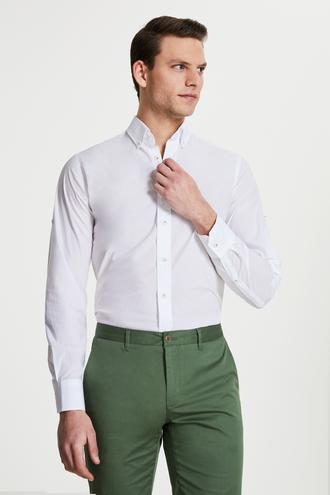 Damat Slim Fit Beyaz Düz Yaka İğneli Gömlek - 8681649982265 | Damat Tween