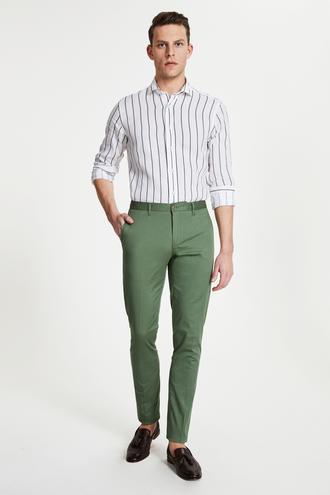 Damat Slim Fit Yeşil Chino Pantolon - 8681649982975 | Damat Tween