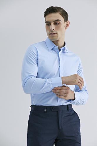 Tween Slim Fit Mavi Düz Gömlek - 8682364568352 | Damat Tween
