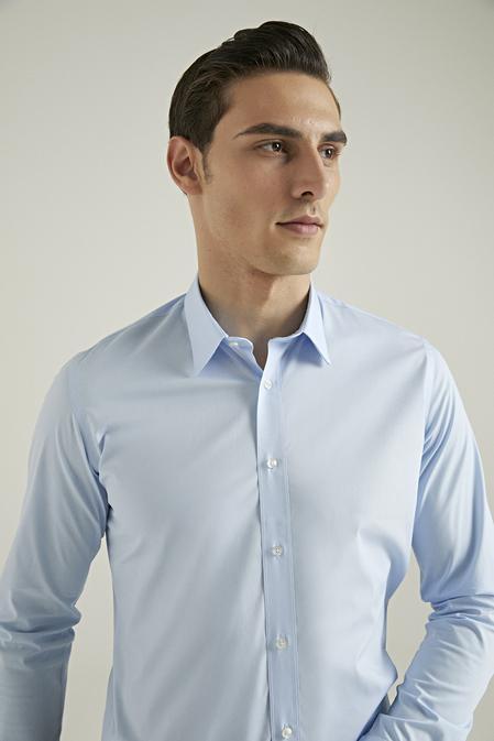 Tween Slim Fit Mavi Düz Easy Care Gömlek - 8681649979531 | Damat Tween