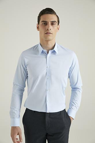 Tween Slim Fit Mavi Düz Gömlek - 8682364568635 | Damat Tween