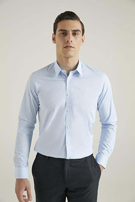 Tween Slim Fit Mavi Düz Nano Care Gömlek - 8682364568635 | Damat Tween