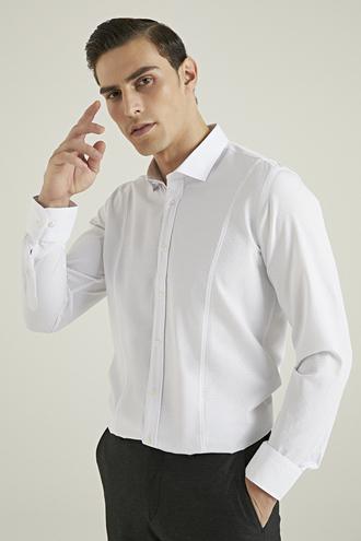 Tween Slim Fit Beyaz Desenli Gömlek - 8682364355631 | Damat Tween