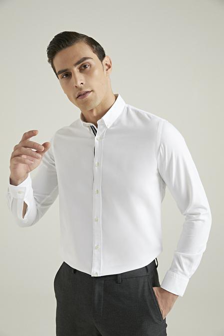 Tween Slim Fit Beyaz Düz Gömlek - 8682364355938   Damat Tween