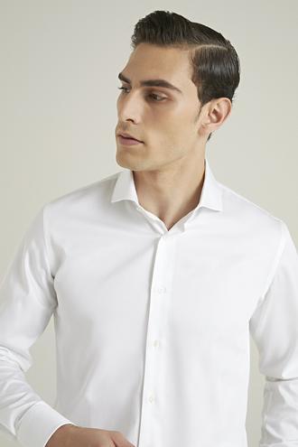 Damat Slim Fit Beyaz Düz Gömlek - 8682364508921 | Damat Tween
