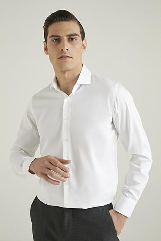 Damat Slim Fit Beyaz Düz Gömlek - 8682364406067 | Damat Tween