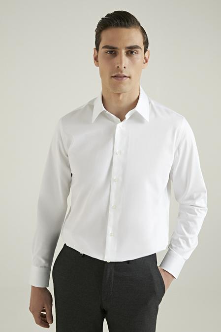 Damat Comfort Beyaz Düz Nano Care Gömlek - 8682364583959 | Damat Tween