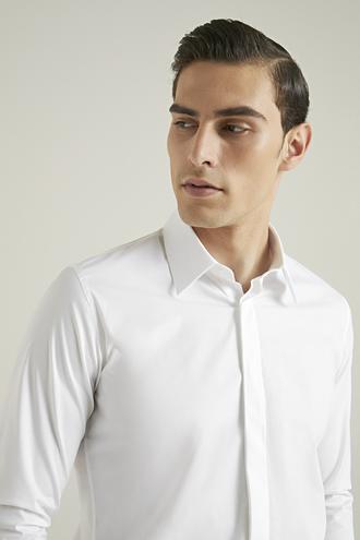 Tween Slim Fit Beyaz Düz Gömlek - 8682364407439 | Damat Tween