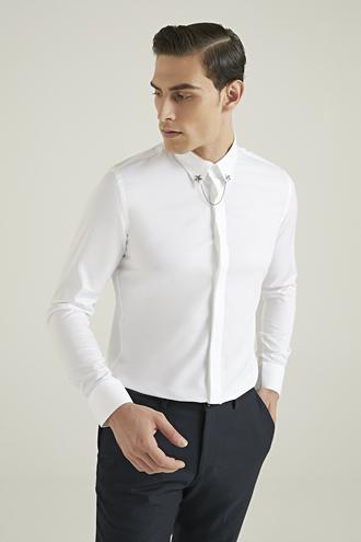 Tween Slim Fit Beyaz Armürlü Gömlek - 8681649871323   Damat Tween