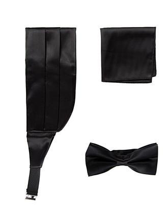 Damat Siyah Düz Kusak-papyon-mendil Set - 8682364426720 | Damat Tween