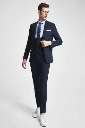 Tween Slim Fit Lacivert Yelekli Takım Elbise - 8682364420629 | Damat Tween