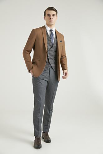 Twn Slim Fit Camel Düz Kombinli Takım Elbise - 8682060736055 | D'S Damat