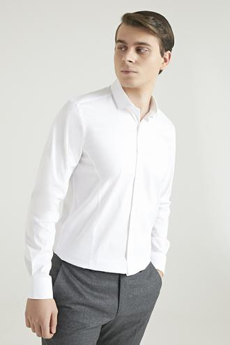 Twn Slim Fit Beyaz Düz Gömlek - 8682445214314 | D'S Damat