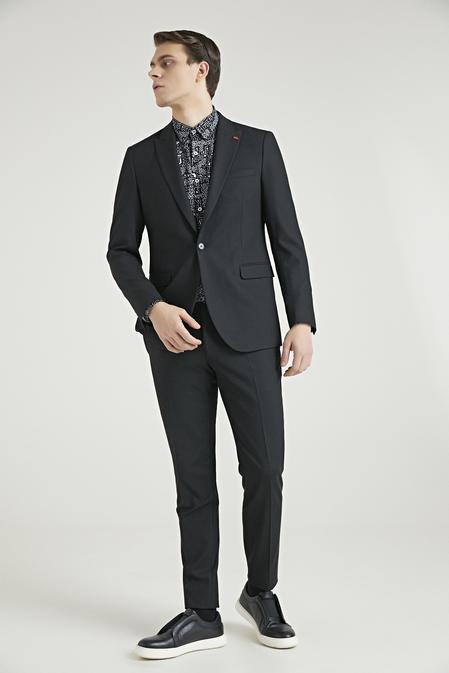 Twn Slim Fit Siyah Armürlü Takım Elbise - 8682445303483 | D'S Damat