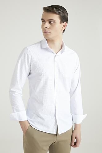 Twn Slim Fit Beyaz Baskılı Gömlek - 8682445024531 | D'S Damat