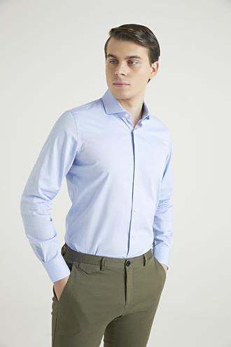 Ds Damat Slim Fit Mavi Armürlü Gömlek - 8681779623472 | D'S Damat