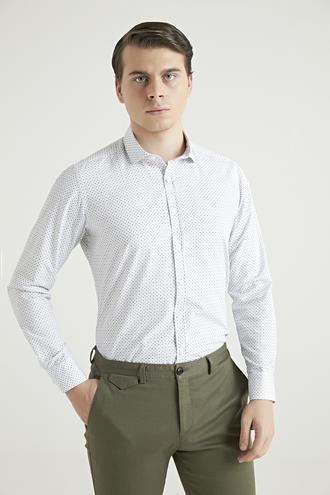 Twn Slim Fit Beyaz Baskılı Gömlek - 8682060802552 | D'S Damat