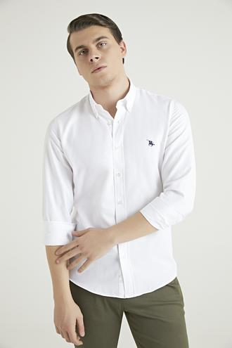 Ds Damat Slim Fit Beyaz Oxford Gömlek - 8682445025163 | D'S Damat
