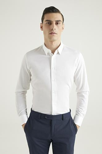 Damat Slim Fit Beyaz Armürlü Örme Gömlek - 8682364633883 | Damat Tween
