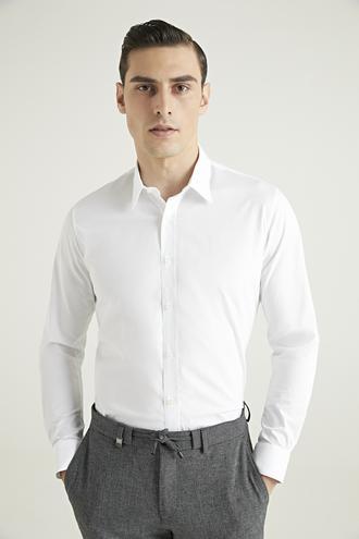 Tween Slim Fit Beyaz Düz Gömlek - 8682364568734 | Damat Tween