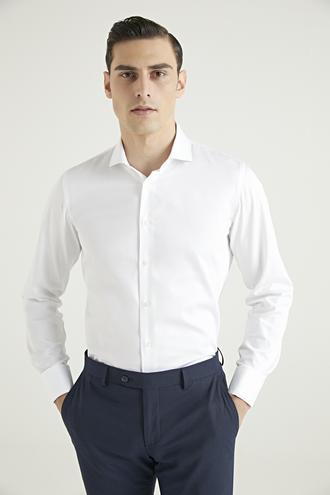 Damat Slim Fit Beyaz Düz Gömlek - 8682364406180 | Damat Tween