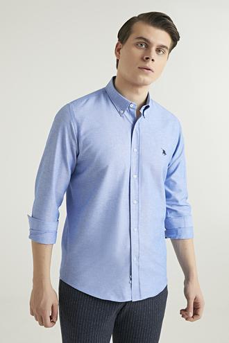 Ds Damat Slim Fit Mavi Armürlü Gömlek - 8682445025323 | D'S Damat