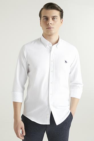 Ds Damat Slim Fit Beyaz Armürlü Gömlek - 8682445025484 | D'S Damat