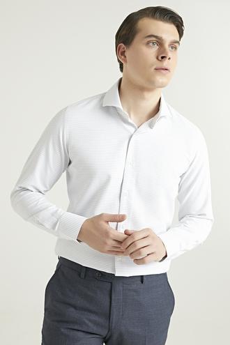 Ds Damat Slim Fit Beyaz Armürlü Gömlek - 8682445027044   D'S Damat