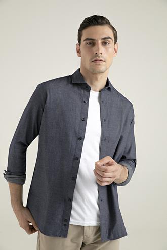 Damat Slim Fit Lacivert Desenli Gömlek - 8682364353507 | Damat Tween