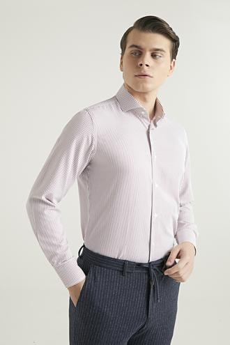 Ds Damat Slim Fit Kırmızı Çizgili Gömlek - 8682060804280 | D'S Damat