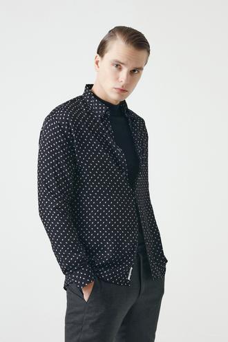 Tween Slim Fit Siyah Baskılı Gömlek - 8682364404421   Damat Tween
