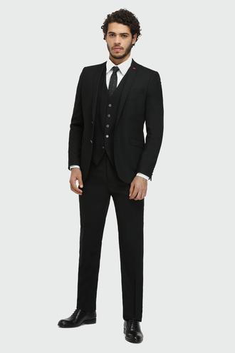 Twn Slim Fit Slim Fit Siyah Armürlü Yelekli Takım Elbise - 8681779694731 | D'S Damat