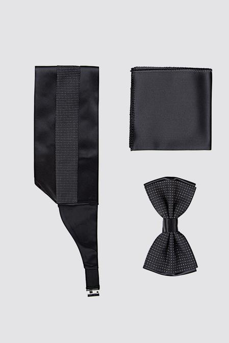 Ds Damat Siyah Düz Kusak-papyon-mendil Set - 8681494425917   D'S Damat
