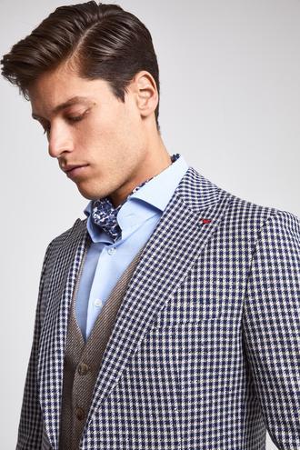 Ds Damat Slim Fit Lacivert Kareli Kombinli Takım Elbise - 8682060148773   D'S Damat
