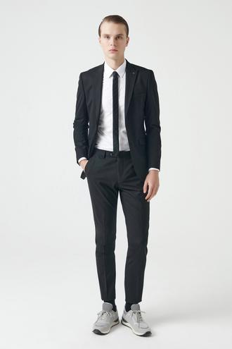 Tween Slim Fit Siyah Düz Travel Takım Elbise - 8682364420834 | Damat Tween