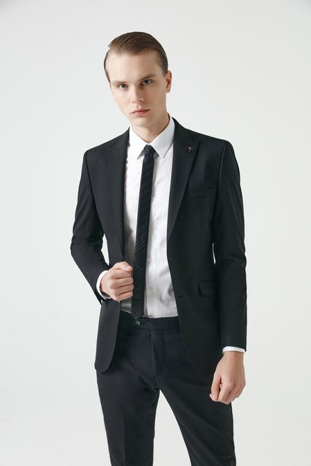 Tween Slim Fit Siyah Düz Takım Elbise - 8682364511662 | Damat Tween
